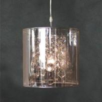 Muno - Suspension diamètre 30.8 cm pampilles en cristal et abat jour en Pvc Crystal Drop