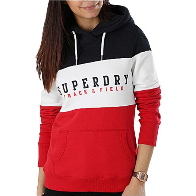 Superdry Sweat à capuche tricolore Track And Field Rouge