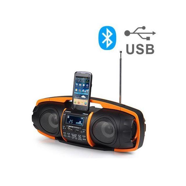 Totalcadeau Poste Radio à liaison Mp3 par Bluetooth - Dock Enceinte portable Haut-parleur avec Fm Radio Sans fil