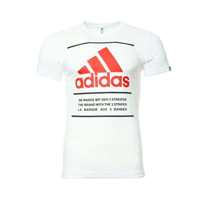 Adidas Tee shirt Blanc Homme Qqr 3 lines Multicouleur S