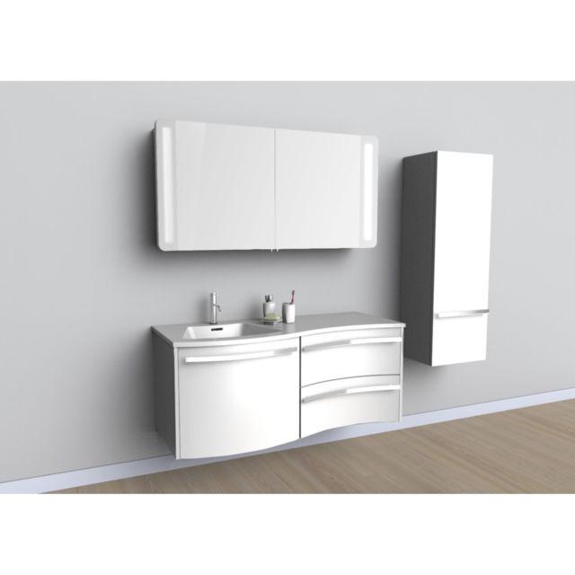 meuble sous vasque milano 1 porte 2 tiroirs blanc x x cm pas cher achat. Black Bedroom Furniture Sets. Home Design Ideas