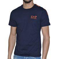 Armani - Ea7 Emporio - Tee Shirt Mc - Homme - 7 Lines - Navy Orange