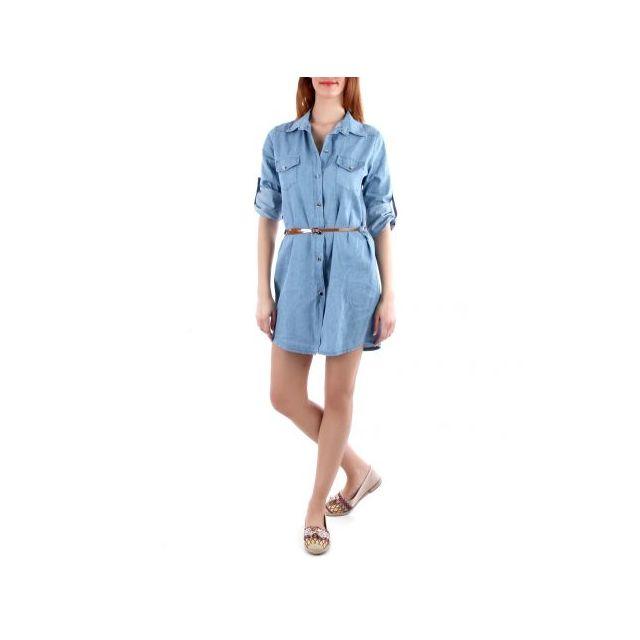 9738035e72 La Modeuse - Robe chemise en jean bleu - pas cher Achat / Vente ...