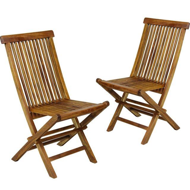 Wood En Stock Lot de 2 chaises de jardin en teck huilé , chaises pliantes