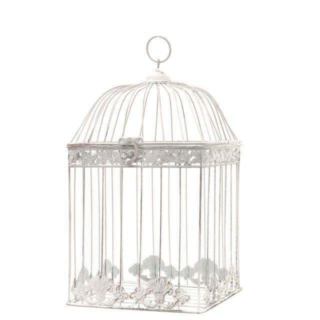 L'ORIGINALE Deco Cage Fer Décoration Carré Blanc 43 cm x 23 cm x 23 cm