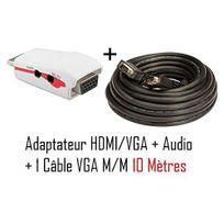 Cabling - Adaptateur Hdmi - Vga + audio pour ordinateur/Tablette vers vidéo projecteur + Cable Vga M/M 10 mètres