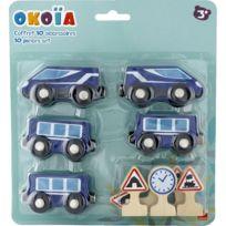 Okoia - Coffret circuit 10 accessoires en bois : Transport de voyageurs