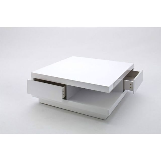 Sofamobili Table Basse Design Blanc Laque Avec Tiroirs Yalta 2
