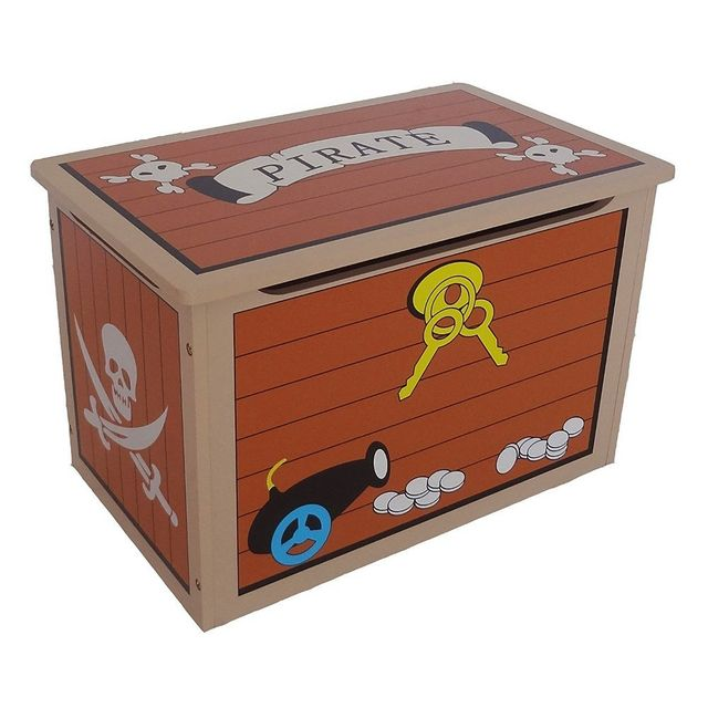 Bebe Gavroche - Coffre à jouets Pirate en bois Marron - 10cm x 10cm x 40cm
