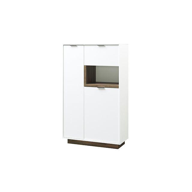 Commode 86x143x37cm blanc mat et bois naturel