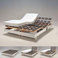 No Name - Ensemble 2 sommiers relaxation électrique 80X200 Flexpalace + 2 matelas mémoire de forme/ Blanc