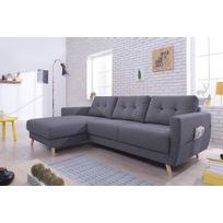 Bobochic - Canapé d'angle gauche convertible tissu 4 places gris foncé_Oslo