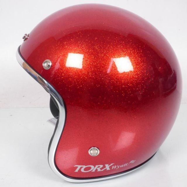 Torx Casque Bol Jet Wyatt Rouge Brillant Taille S Moto Scooter