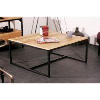 Soldes miliboo table basse bois massif et m tal - Table basse industrielle metal et bois ...