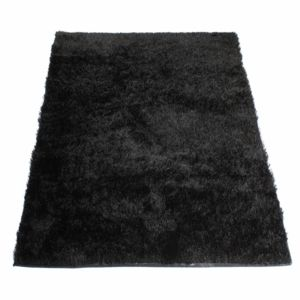 matin calin tapis shaggy noir 60 x 120 cm pas cher achat vente tapis rueducommerce. Black Bedroom Furniture Sets. Home Design Ideas