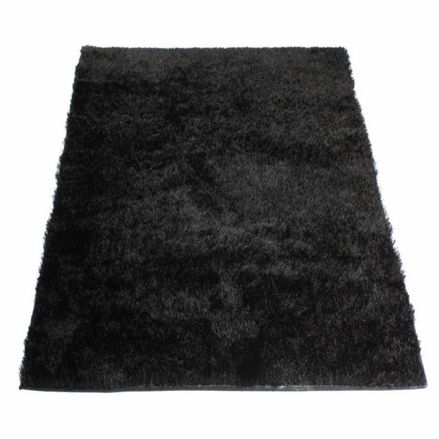 matin calin tapis shaggy noir 60 x 120 cm pas cher. Black Bedroom Furniture Sets. Home Design Ideas
