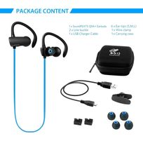 Alpexe - Oreillette Sans fil sport, Casque bluetooth écouteur intra-auriculaire de course avec la technologie Aptx et bluetooth version 4.1 avec le microphone intégré compatible avec Iphone, Ipad, Sony,Samsung et d'autre Smartphones Q9A Bleu