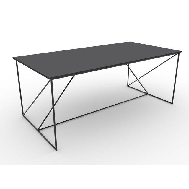 Marque Generique Table à manger avec piètement luge graphique décor bois et métal L180 x P75 cm Walter