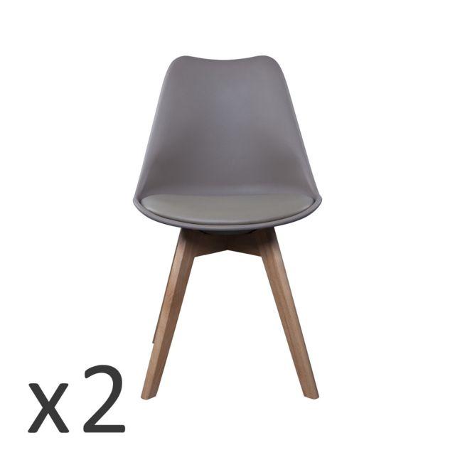 the concept factory lot de 2 chaises scandinave taupe avec coussin cacao pas cher achat vente chaises rueducommerce - Chaises Scandinave