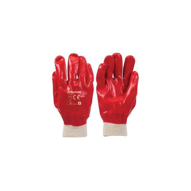 Silverline 447137 Gants tricot PVC Taille Unique Rouge