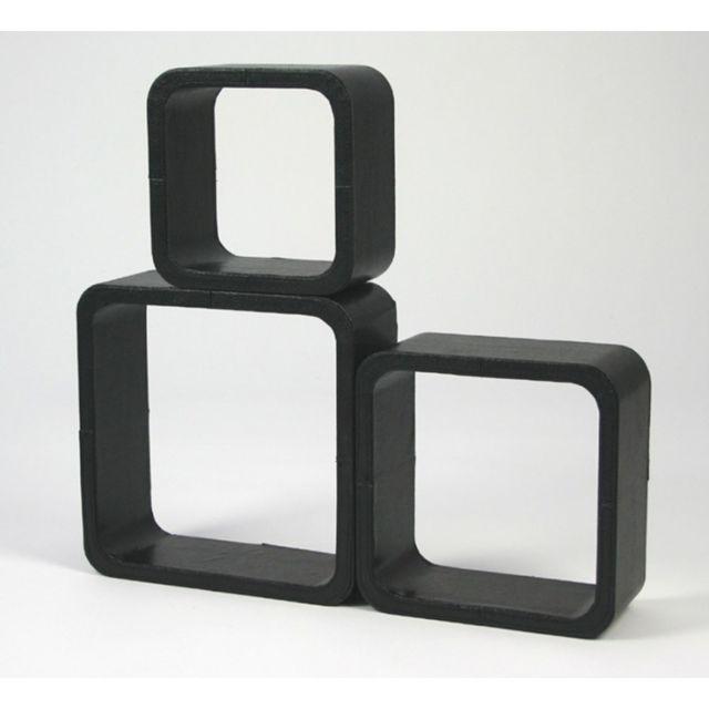 Autre Lot de 3 étagères cubes murale rangement noir Eta06002
