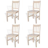 rocambolesk superbe 4 pcs chaise salle manger en bois naturel neuf