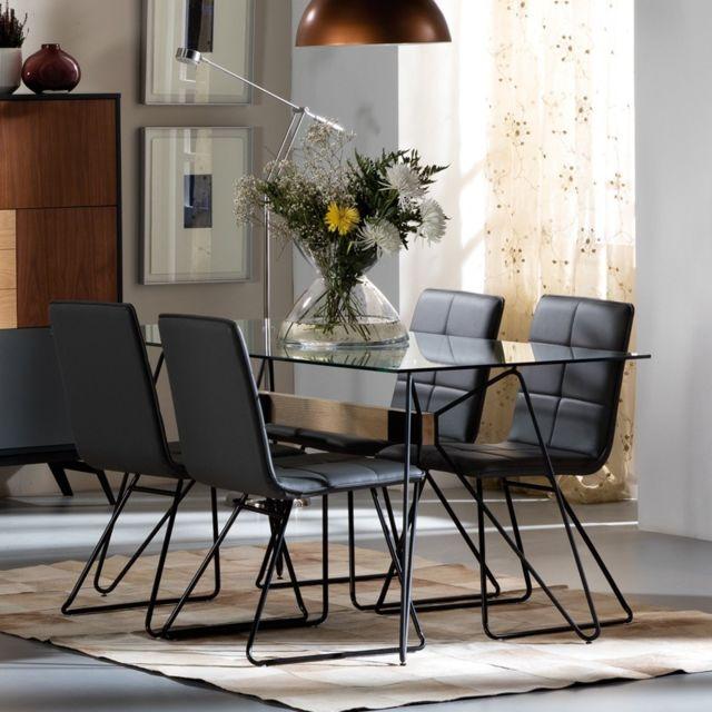 Tousmesmeubles Table de repas Piétement filiforme - Colette - L 160 x l 80 x H 75
