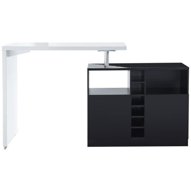 MANGE-DEBOUT - TABLE DE BAR - TABLE HAUTE POLY Table bar style contemporain blanc laqué brillant et noir - L 126 x l 52