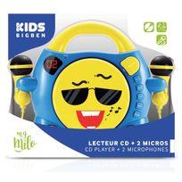 Bigben - Interactive - Lecteur Cd portable avec 2 micros - Bleu et jaune avec Smiley