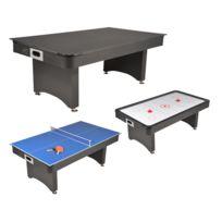Jt2D - Table de Jeux 3 en 1 Air Hockey, Ping Pong et convertible Table 08c01d57662c