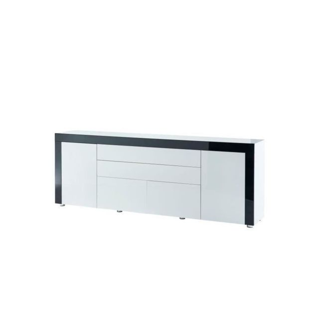 VOX Buffet contemporain laqué blanc et noir brillant - L 200 cm