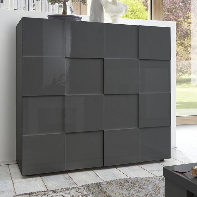 Kasalinea Buffet haut gris laqué brillant design Dominos 2
