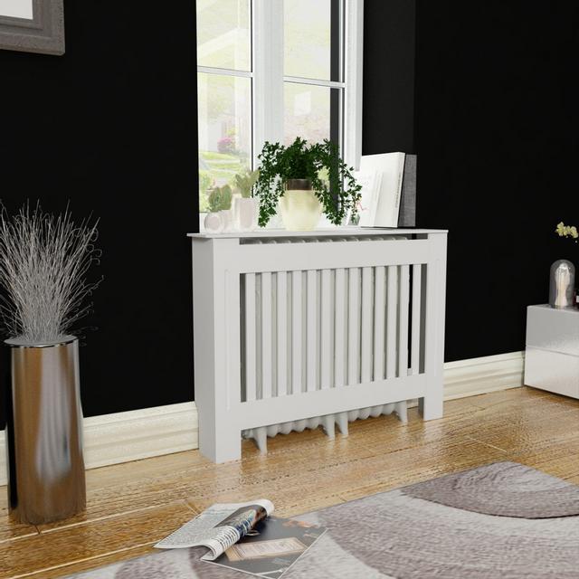 vidaxl cache radiateur blanc mdf 112 cm pas cher achat vente accessoires po les bois. Black Bedroom Furniture Sets. Home Design Ideas