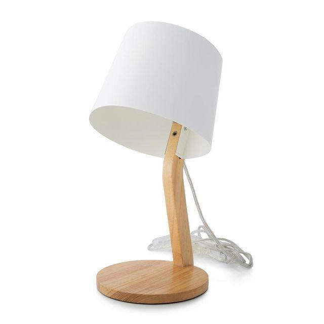 Marbella Lighting - Woody - Lampe à poser Blanc/Bois H36,5cm