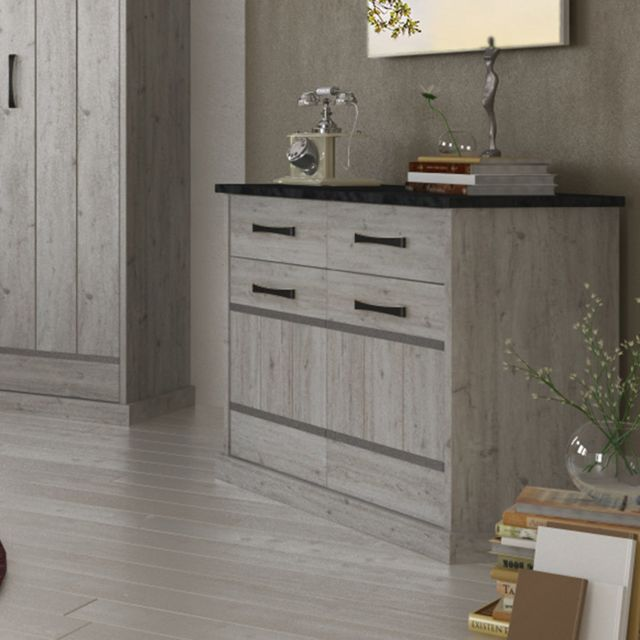 Nouvomeuble Commode 90 cm contemporaine couleur bois gris Morgane