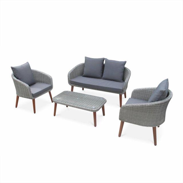 ALICE'S GARDEN Salon de jardin Grenada en bois, coussins gris clair, 4 places assises, 4 éléments
