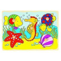 Goki - 2041537 - Puzzle En Bois À Encastrement - Hippocampe, Shell - 15 PiÈCES