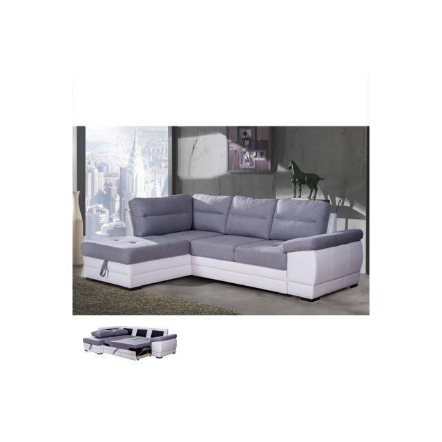 Canapé d'angle convertible à gauche avec coffre gris et Pvc blanc Wesley