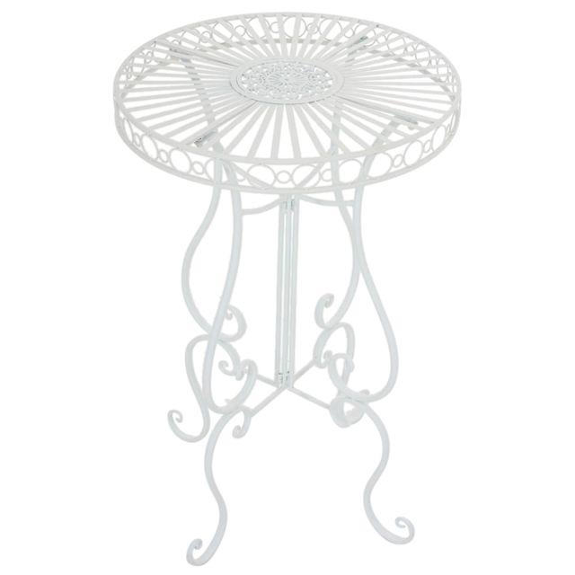 Table de jardin ronde en fer coloris blanc - 100 x 64 x 64 cm