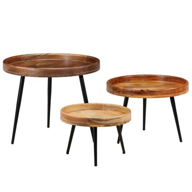 Chic Consoles serie Nouakchott Ensemble de tables 3 pcs Bois de manguier massif et acier