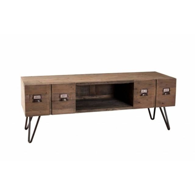 inside 75 meuble tv au style industriel octave en pin 2 tiroirs pas cher achat vente. Black Bedroom Furniture Sets. Home Design Ideas