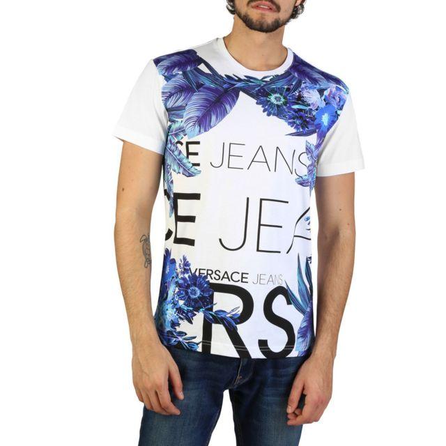 58ada864ec7b Versace - Jeans - T-shirt imprimé floral - Blanc - pas cher Achat   Vente  Tee shirt homme - RueDuCommerce