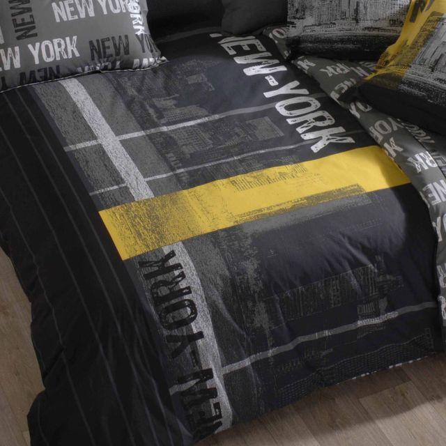 linnea housse de couette 200x200 cm 100 coton new york multicolore 200cm x 200cm pas cher. Black Bedroom Furniture Sets. Home Design Ideas