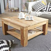 Table Basse En Bois Brut.Table Basse Carree En Bois De Teck 80