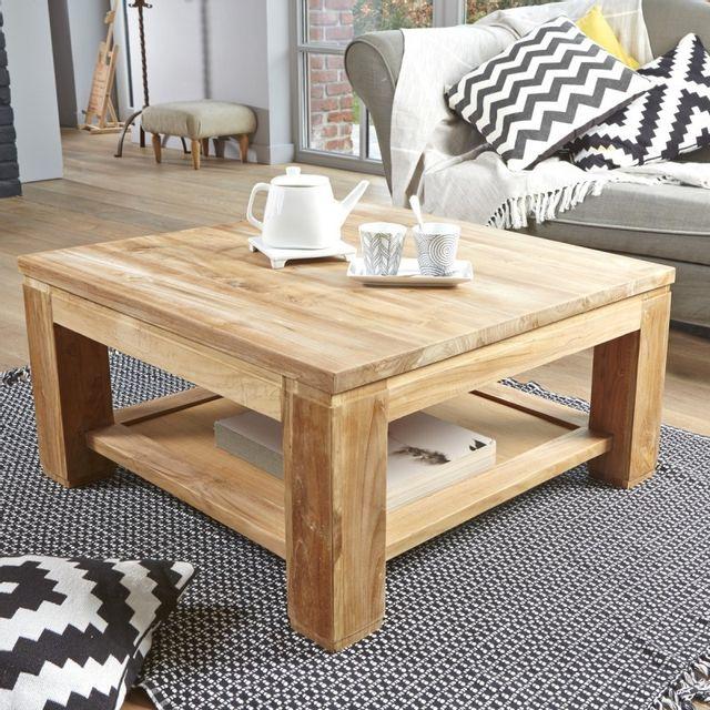 bois dessus bois dessous table basse carr e en bois de teck 80 80cm x 40cm x 80cm n a pas. Black Bedroom Furniture Sets. Home Design Ideas