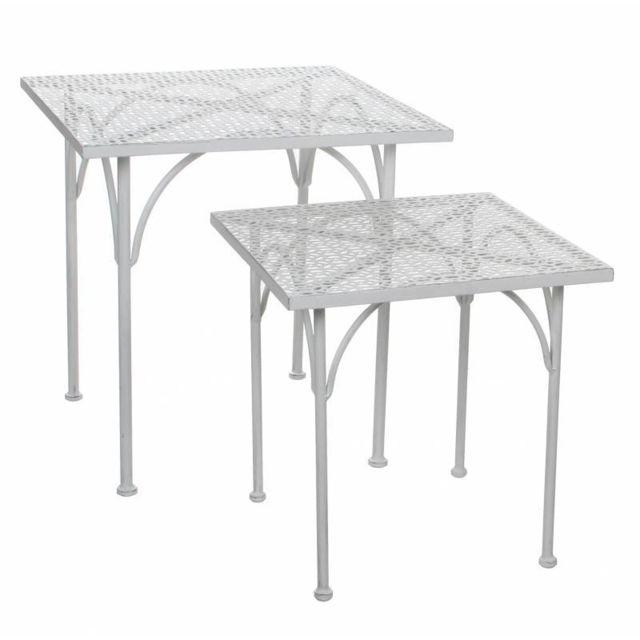 Bout De Canape Sellette Petite Table Basse Gigogne Console D Appoint Gueridon Carre En Fer Patine Blanc 38x38x39cm
