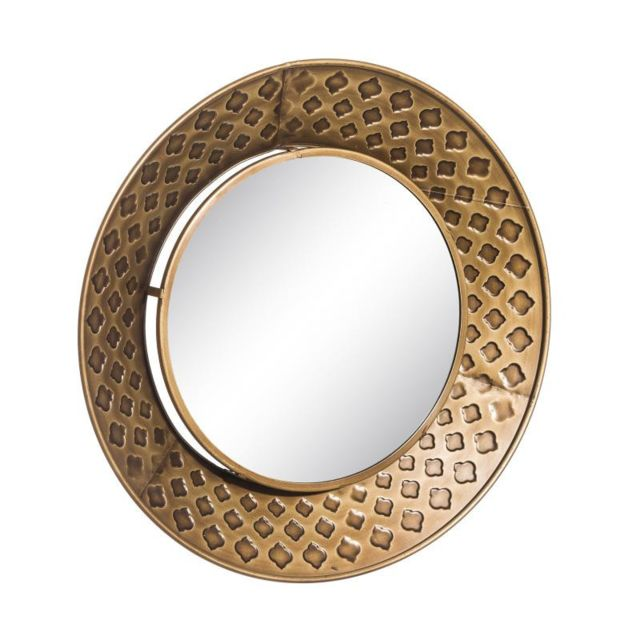 Tousmesmeubles Miroir rond Métal doré taille S - Rezza