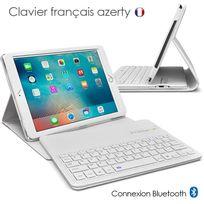 Karylax - Etui de Protection Blanc avec Clavier Français Azerty Français Bluetooth pour Apple iPad Air 1 / Air 2