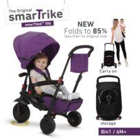 Smartrike - tricycle évolutif pliant avec siège inclinable et pivotant 8 en 1 smarTfold 700 violet pour bébé et enfant