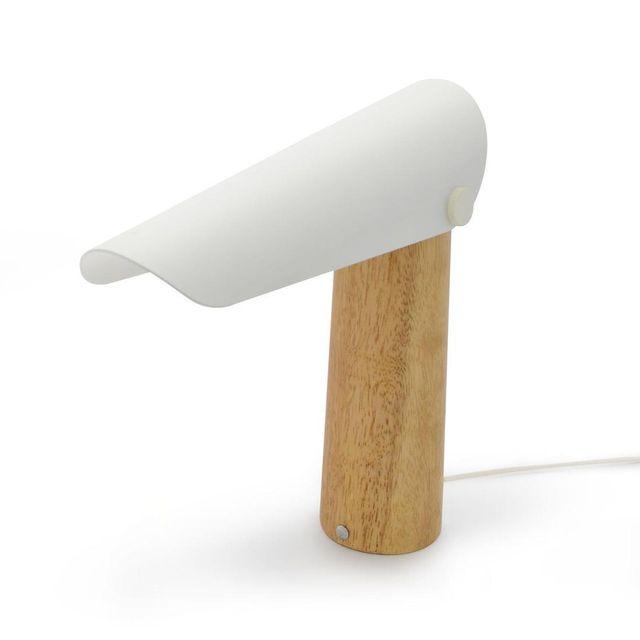 Lo Editions - Twirly - Lampe à poser Led Métal & Bois Blanc H28,5cm